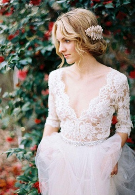 2021 A-line Wedding Dresses V Neck Lace Half Long Sleeves Maternity Bridal Gowns_3