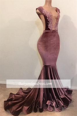 Sexy Sleeveless V-Neck Prom Dresses |  Appliques Velvet Mermaid Evening Gowns BC1516_1