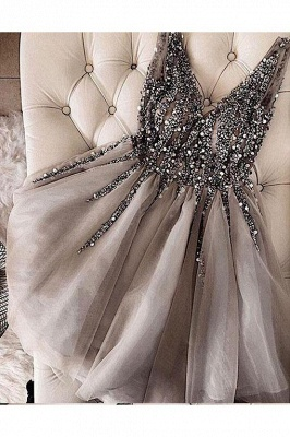 Shiny Beading A-Line Homecoming Dresses | V-Neck Sleeveless Short Cocktail Dresses BA9977_2