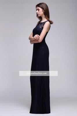 Lace Sleeveless Floor-Length Dark-Navy Sheath Evening Gowns_4