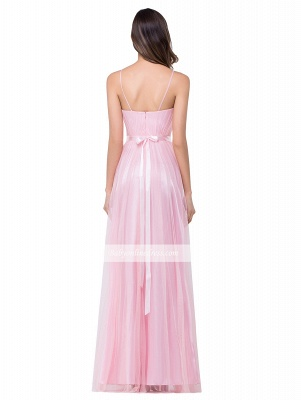 Simple Pink Spaghetti-Straps Open-Back Ruffles A-Line Evening Dress_4