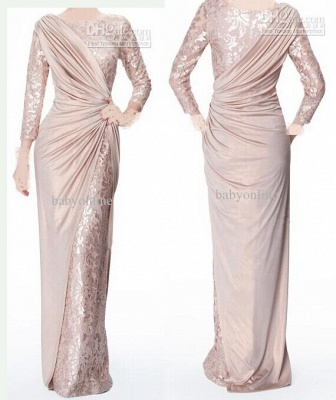 Sexy Long Sleeves Chiffon Lace Pearl Pink Ruffle Evening Dresses Mother of the Bride Dress_2