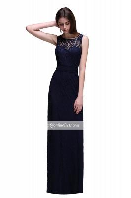 Lace Sleeveless Floor-Length Dark-Navy Sheath Evening Gowns_2
