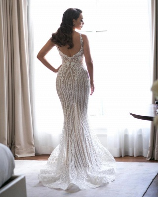 Sexy Lace Mermaid Wedding Dresses   Spaghetti Straps Bridal Gowns with Detachable Skirt_3