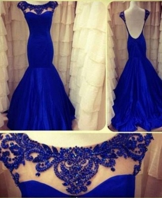2021 royal Blue Evening Dresses Jewel Backless Sleeveless Lace Sheer Mermaid Taffeta Ruffles Appliques Flowers Prom Gown_2
