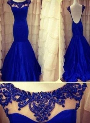 2021 royal Blue Evening Dresses Jewel Backless Sleeveless Lace Sheer Mermaid Taffeta Ruffles Appliques Flowers Prom Gown_1