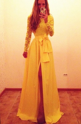2021 Yellow Long Sleeves Lace Prom Dresses Front Slit with Bow Sash A-line Evening Gowns_1