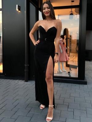 Sexy Black Sheath Prom Dresses | Sweetheart Sleeveless Slit Evening Dresses_1