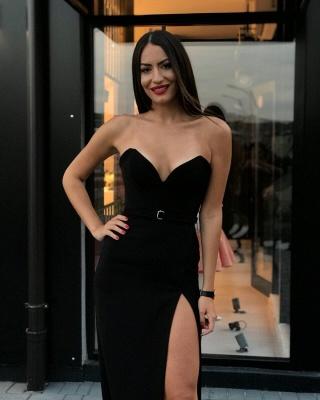Sexy Black Sheath Prom Dresses | Sweetheart Sleeveless Slit Evening Dresses_2