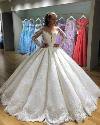 Gorgeous Ball Gown Wedding Dresses | Long Sleeves Lace Appliques Bridal Gowns_3