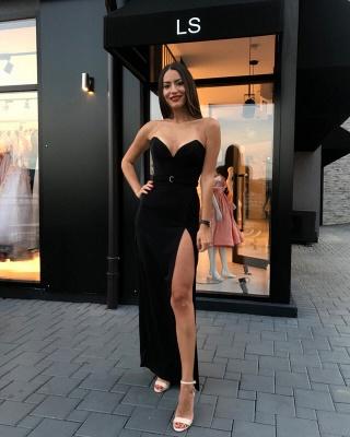 Sexy Black Sheath Prom Dresses | Sweetheart Sleeveless Slit Evening Dresses_3