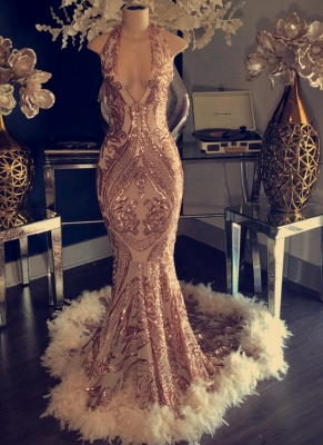 Sexy Champagne Feather Prom Dresses | Halter Neck Appliques Mermaid Evening Gowns_1