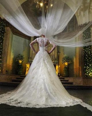 Elegant Lace A-line Wedding Dresses | Square Neckline Long Sleeves Bridal Gowns_5