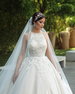 Gorgeous Sleeveless Backless Applique Pleated Puffy Ball Gown Wedding Dresses_3