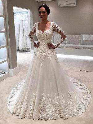 Elegant Lace A-line Wedding Dresses | Square Neckline Long Sleeves Bridal Gowns_3