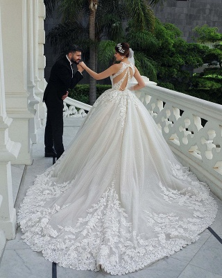 Gorgeous Sleeveless Backless Applique Pleated Puffy Ball Gown Wedding Dresses_5