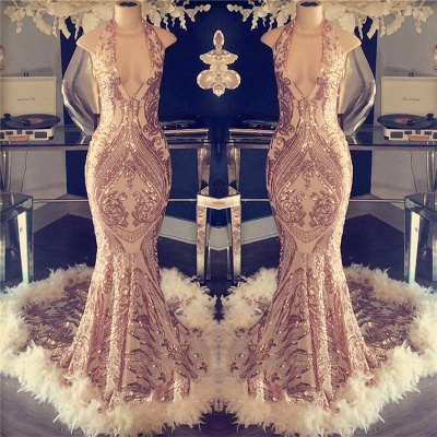 Sexy Champagne Feather Prom Dresses | Halter Neck Appliques Mermaid Evening Gowns_2