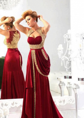 Wholesale 2021 Arabic Evening Dresses Sexy Sweetheart Satin burgundy Gold Embroidery Crystals Dresses for Prom_2