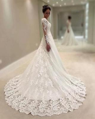 Elegant Lace A-line Wedding Dresses | Square Neckline Long Sleeves Bridal Gowns_4
