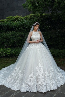 Gorgeous Sleeveless Backless Applique Pleated Puffy Ball Gown Wedding Dresses_1