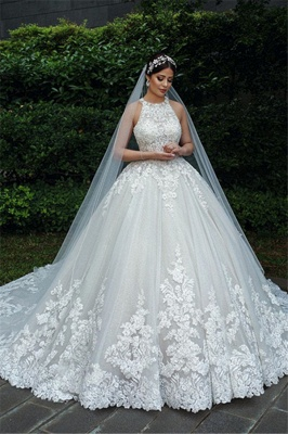 Gorgeous Sleeveless Backless Applique Pleated Puffy Ball Gown Wedding Dresses_6
