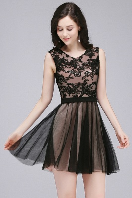 Chic Short A-Line Homecoming Dresses | Scoop Sleeveless Lace Appliques Short Cocktail Dresses BM0132_3