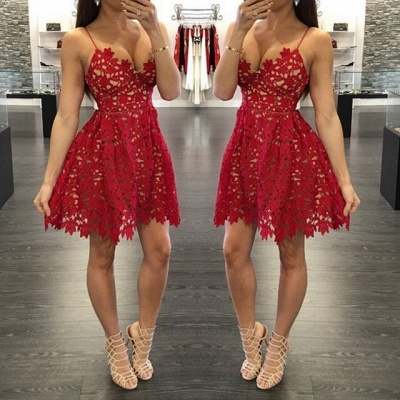 Sexy A-Line Red Lace Homecoming Dresses 2021 Spaghetti Straps Party Gowns_3