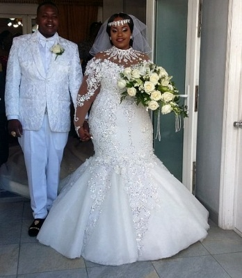 Luxury Plus Size Mermaid Wedding Dresses | High Neck Long Sleeves Crystals Bridal Gowns BC3440_5