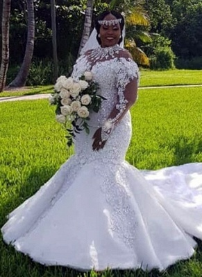 Luxury Plus Size Mermaid Wedding Dresses | High Neck Long Sleeves Crystals Bridal Gowns BC3440_1