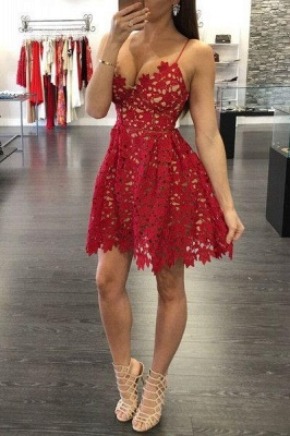 Sexy A-Line Red Lace Homecoming Dresses 2021 Spaghetti Straps Party Gowns_1