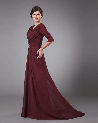 Chiffon Pleated Ruffle V Neck Floor Length Mothers of Bride & Guests Dress_5