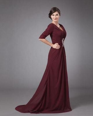 Chiffon Pleated Ruffle V Neck Floor Length Mothers of Bride & Guests Dress_7
