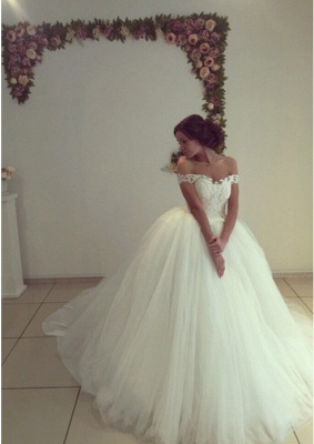 Elegant Ball Gown Wedding Dresses | Off The Shoulder Lace Appliques Bridal Gowns_3