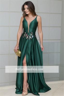 Glamorous Sleeveless Dark Green Spaghetti Strap Evening Dresses   Front Split  Appliques Long Prom Gowns_1