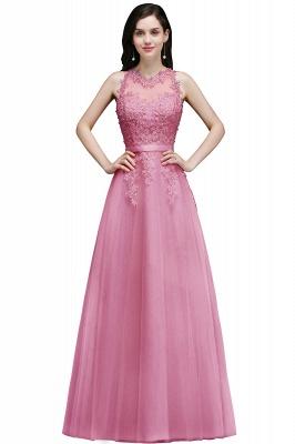 Elegant A-Line Tulle Prom Dresses | Scoop Sleeveless Lace Appliques Evening Dresses BM0133_6