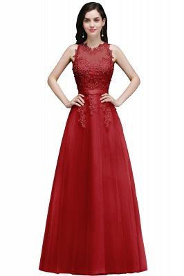 Elegant A-Line Tulle Prom Dresses | Scoop Sleeveless Lace Appliques Evening Dresses BM0133_5