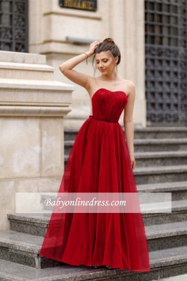 A-line Formal Backless Sweetheart Floor-length Charming Ruffles Evening Dress_2