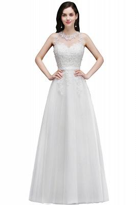 Elegant A-Line Tulle Prom Dresses | Scoop Sleeveless Lace Appliques Evening Dresses BM0133_2