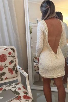 Short Sheath V-Neck Lace Homecoming Dresses Long Sleeves Backless Cocktail Dresses_2