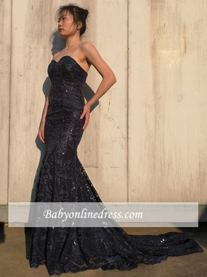 Elegant Sweetheart Sequins Prom Dresses   Mermaid Floor Length Black Evening Gowns_4
