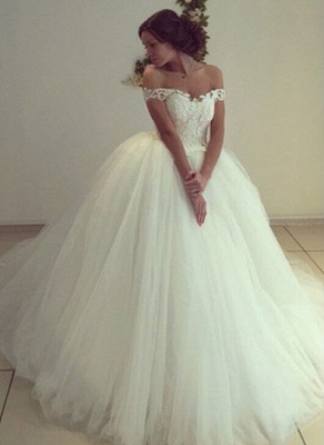 Elegant Ball Gown Wedding Dresses | Off The Shoulder Lace Appliques Bridal Gowns_4