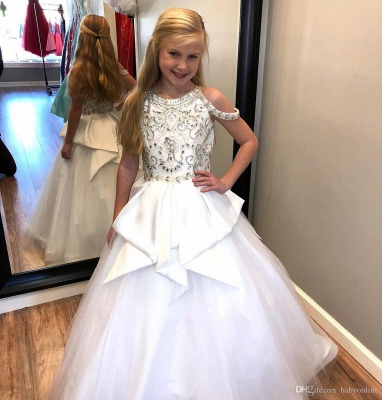 Flower Girls A-line Beading Formal Dresses | Floor Length Wedding Party Dresses_3