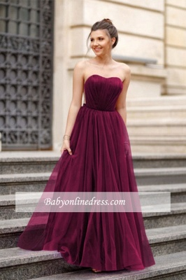 A-line Formal Backless Sweetheart Floor-length Charming Ruffles Evening Dress_4
