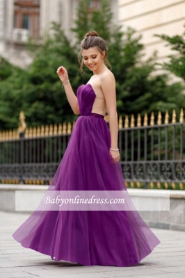 A-line Formal Backless Sweetheart Floor-length Charming Ruffles Evening Dress_6
