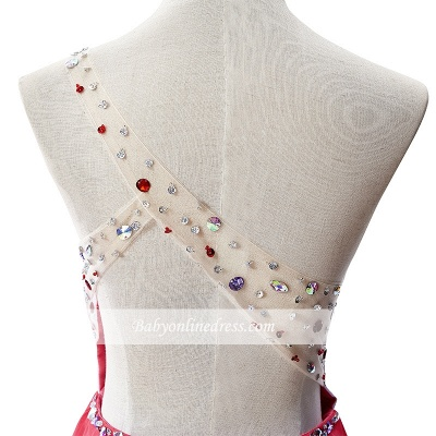 Open-Back One-Shoulder Glamorous Short A-Line Crystal Homecoming Dresses_5