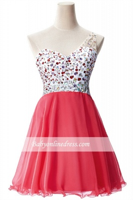 Open-Back One-Shoulder Glamorous Short A-Line Crystal Homecoming Dresses_7