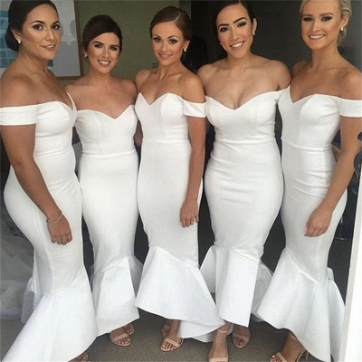 Simple White Mermaid Bridesmaid Dresses | Off-the-Shoulder Hi-Lo Maid of the Honor Dress_3