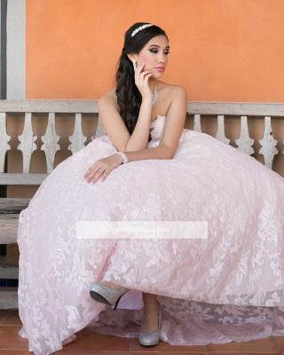 Strapless A-line Beadings Appliques Glorious Quinceanera Dresses_3