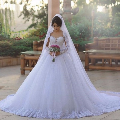 Elegant Beading Ball Gown Wedding Dresses   Long Sleeves Lace Bridal Gowns_2