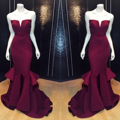 Marsala Burgundy Mermaid Prom Dresses Ruffles Notched Front Slit Formal Evening Gowns_2